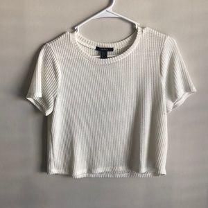 White knit boxy top